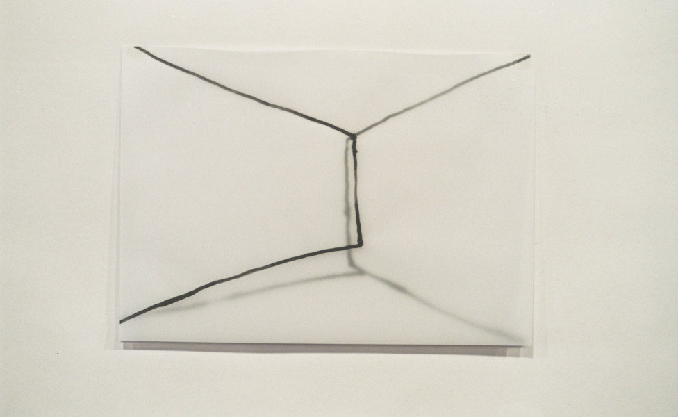 box, 2001, Tusche Papier Transparentpapier, 21 x 30 cm