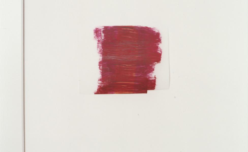 cover, 2003, Öl Transparentfolie auf Wand, ca. 16 x 18 cm