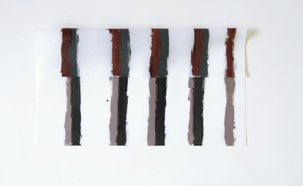 O.T., 2006, Öl Transparentfolie, 25 x 46 cm