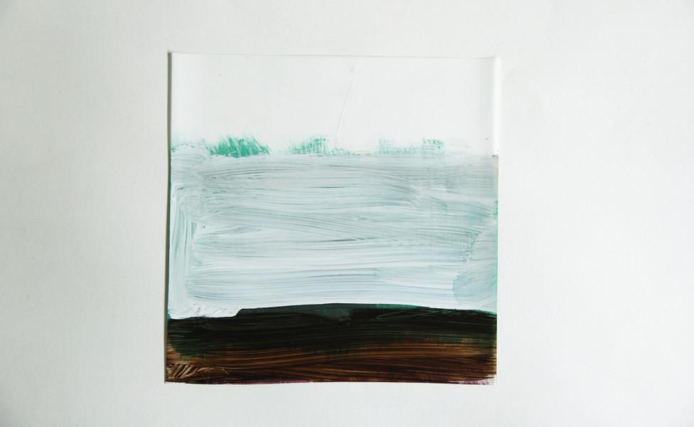 O.T., 2008, Öl Transparentfolie, 28 x 28 cm
