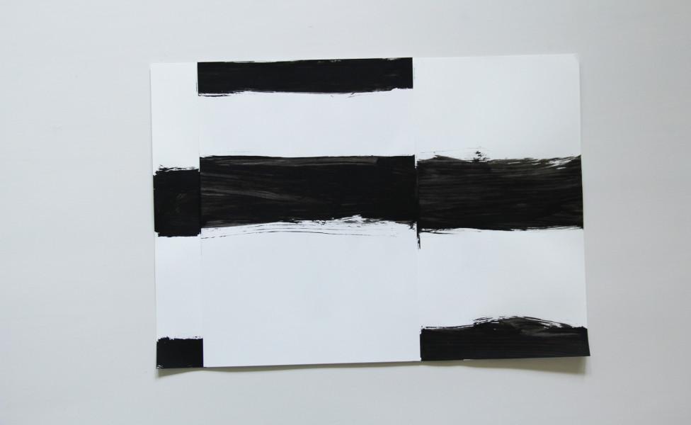 quer, 2008, Acryl Papier, 30 x 42 cm