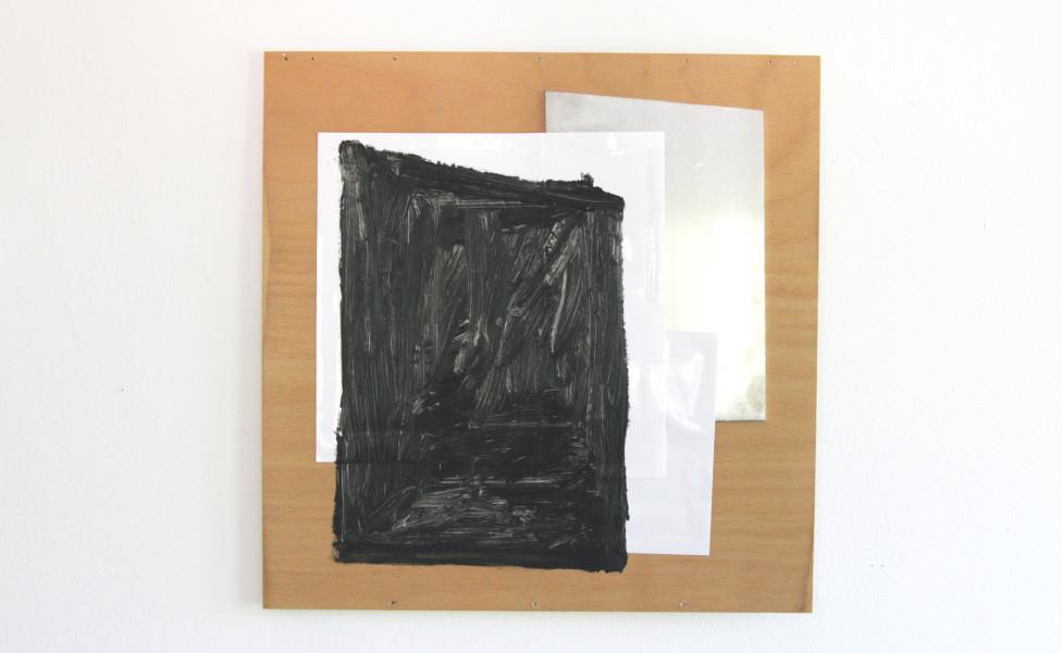 O.T., 2010, Öl Folie Metall Holzplatte, 49 x 49 cm