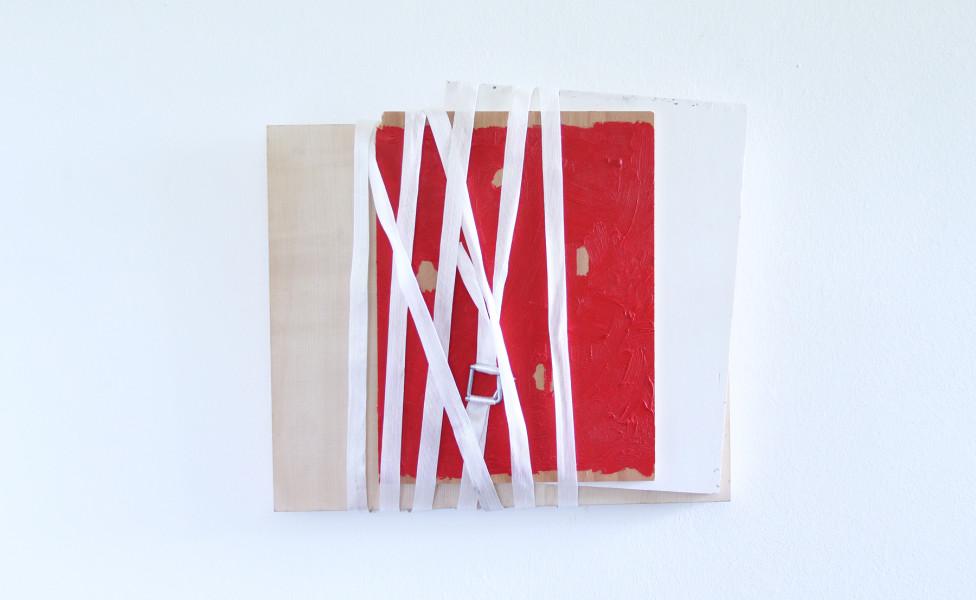 Relief für C., 2014, Öl Verpackungsband Holzplatten, 34 x 37 x 5,5 cm